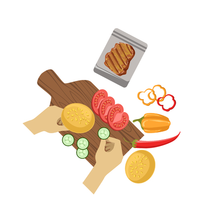 from above: Child Cooking Burger Illustration With Only Hands Visible From Above. Kids Art And Craft Lesson Colorful Cartoon Cute Vector Picture.