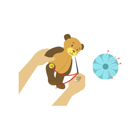 Child Making Toy Bear Illustration With Only Hands Visible From Above. Kids Art And Craft Lesson Colorful Cartoon Cute Vector Picture.