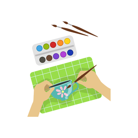 from above: Child Painting Cup Illustration With Only Hands Visible From Above. Kids Art And Craft Lesson Colorful Cartoon Cute Vector Picture. Illustration