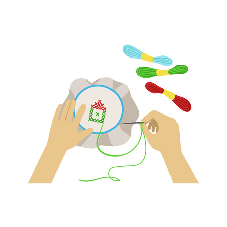 from above: Child Doing Embroidery Illustration With Only Hands Visible From Above. Kids Art And Craft Lesson Colorful Cartoon Cute Vector Picture.