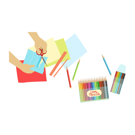 visible: Child Doing Applique Illustration With Only Hands Visible From Above. Kids Art And Craft Lesson Colorful Cartoon Cute Vector Picture.