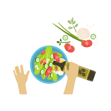 Child Cooking Salad Illustration With Only Hands Visible From Above. Kids Art And Craft Lesson Colorful Cartoon Cute Vector Picture.