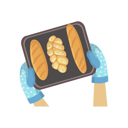 Kind Met Bak Van Bread Illustratie Met Alleen Handen Zichtbaar Van Boven. Kids Art And Craft Lesson Kleurrijke Cartoon Leuke Vector Picture. Vector Illustratie