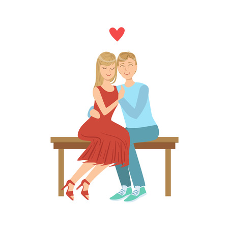 going out: Couple In Love Hugging On The Bench. Bright Color Cartoon Simple Style Flat Vector Illustration Isolated On White Background