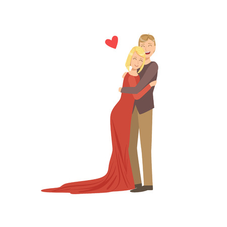 Couple In Love In Classy Outfits Hugging. Bright Color Cartoon Simple Style Flat Vector Illustration Isolated On White Background Illustration