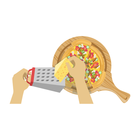 from above: Child Cooking Pizza Illustration With Only Hands Visible From Above. Kids Art And Craft Lesson Colorful Cartoon Cute Vector Picture.