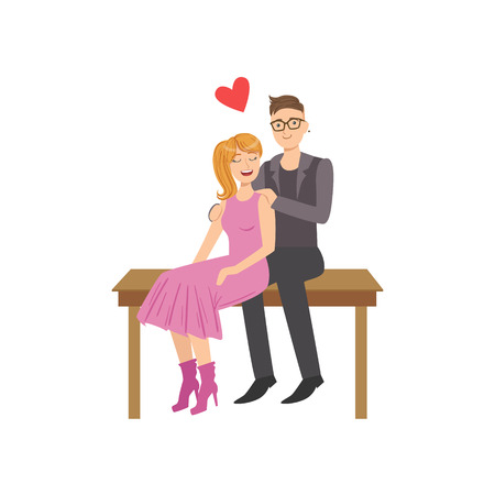 Couple In Love Sitting On The Bench. Bright Color Cartoon Simple Style Flat Vector Illustration Isolated On White Background