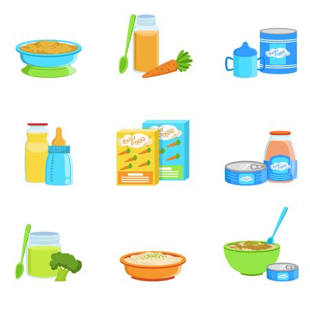 puree: Baby Food And Products Set Of Icons. Bright Color Infant Diet Elements Informational Illustrations. Flat Colorful Vector Icons On White Background.
