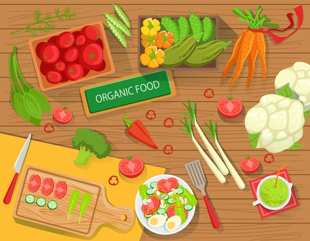 leaks: Table With Fresh Organic Vegetables And Cooking Attributes View From Above. Simple Bright Color Vector Illustration With Vegetarian Food Preparation Ingredients.