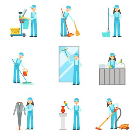 dungarees: Workers Providing Cleaning Service In Blue Uniform Set Of Illustrations. Simplified Bright Color Drawings With People Doing Different Household Clean Ups In Blue Dungarees.