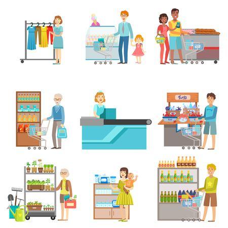 La gente en supermercado conjunto de ilustraciones. Department Store visitantes y los productos que compran planas Pegatinas vector simples.