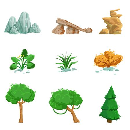 limestone: Landscape Natural Elements Set Of Detailed Icons. Isolated Drawings Of Plants And Rocks For Landscaping On White Background. Illustration