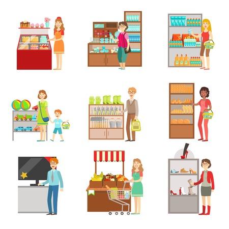 Gente de las compras en los grandes almacenes conjunto de ilustraciones. Supermercados visitantes y los productos que compran planas Pegatinas vector simples.