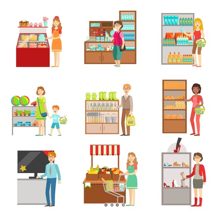 Menschen beim Einkaufen im Kaufhaus von Illustrationen gesetzt. Supermarkt Besucher und die Produkte, die sie kaufen Wohnung Einfache Vektor-Aufkleber.