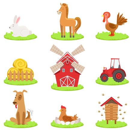 associated: Farm Associated Animals And Objects Collection. Cute Simple Design Illustrations In Bright Color Isolated On White Background.