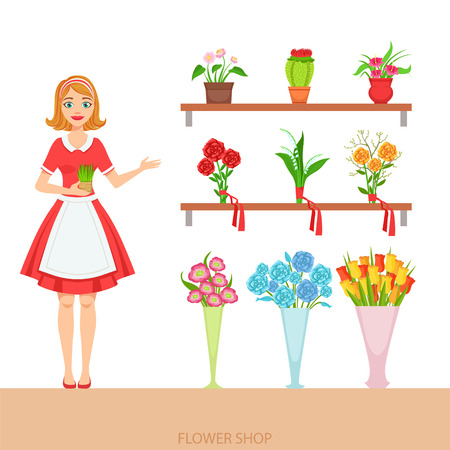 show plant: Female Florist In The Flower Shop Demonstrating The Assortment. Simple Vector Illustration With Flower Shop Seller With The Home And Orangery Plants On The Shelves.