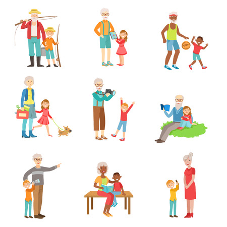 Grandparents And Kids Spending Time Together Set Of Illustrations. Simple Bright Vector Drawings Isolated On White Background.