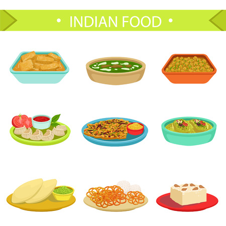 Indian Food Famous Dishes Illustration Set. Traditional Cuisine Restaurant Menu Plates In Simplified Vector Drawings,