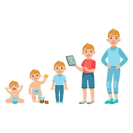백인 소년 성장 다른 단계에서 삽화와 함께 단계. 아기, 아이, 청소년 및 성인 같은 사람을 보여주는 간단한 귀여운 드로잉. 흰색 배경에 플랫 벡터 일 일러스트