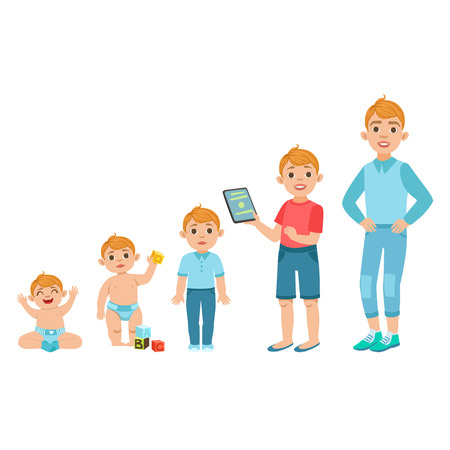 Caucasian Boy Growing Stages With Illustrations In Different Age. Simple Cute Drawings Showing The Same Person As Baby, Kid, Teenager And Adult. Flat Vector Illustration On White Background. Stok Fotoğraf - 65739253