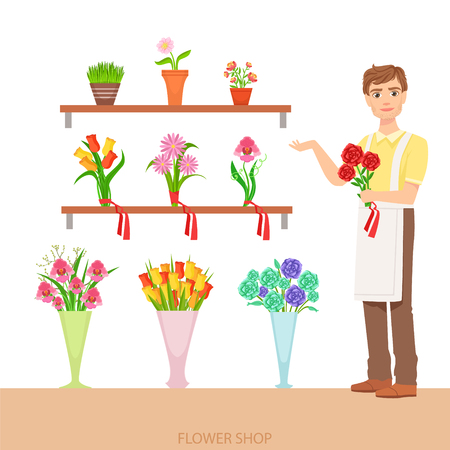 florist: Male Florist In The Flower Shop Demonstrating The Assortment. Simple Vector Illustration With Flower Shop Seller With The Home And Orangery Plants On The Shelves.