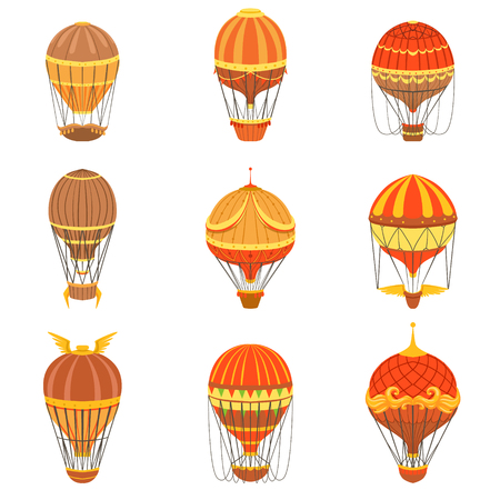 oldschool: Vintage Hot Air Balloons Set.. Detailed Vector Drawings In Orange An Red Colors. Old-school Air Travel Transportation Design Collection. Illustration