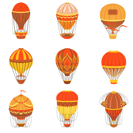 oldschool: Retro Hot Air Balloons Set. Detailed Vector Drawings In Orange An Red Colors. Old-school Air Travel Transportation Design Collection. Illustration