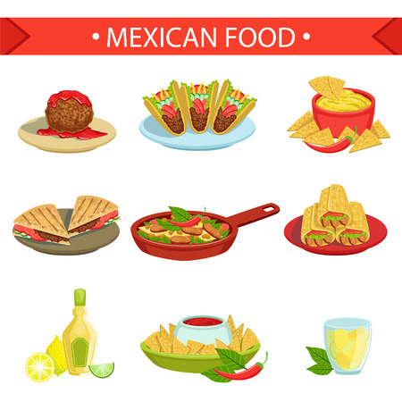 chips and salsa: Mexican Food Famous Dishes Illustration Set. Traditional Cuisine Restaurant Menu Plates In Simplified Vector Drawings,