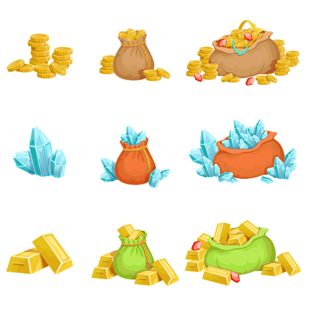 dun: Treasure And Riches Set OF Game Design Elements. Cute Cartoon Style Illustrations With Gold, Jewels And Gems Isolated On White Background. Illustration
