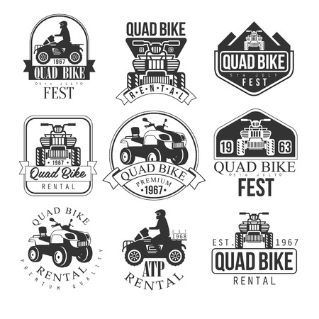 quad: Quad Bike Rental Service Black And White Emblems. Classic Style Monochrome Graphic Design Set With Text On White Background