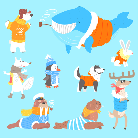 Arctic Animals Dressed In Human Clothes Set Of Illustrations. Cool Cute Cartoon Animal Characters Flat Drawings In Childish Creative Style.