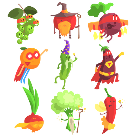 Silly Fantastic Fruit And Vegetable Characters Set. Vegetables As Magicians And heroes, Flat Geometric Design Childish Stickers On White Background.