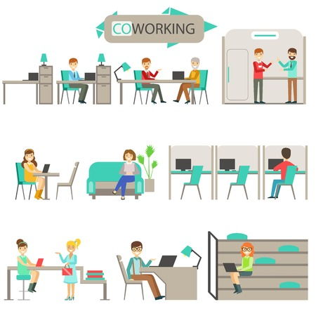 Coworking In Modern Design Office Infographic Illustration Set. Smiling Office Workers In Comfortable Working Environment Simple Cartoon Drawings On White Background.