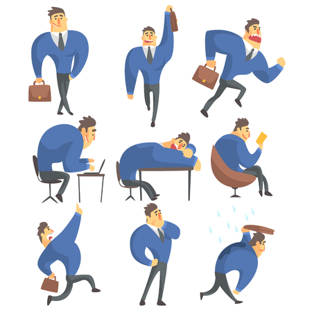 muscly: Businessman In A Suit Different Work Activities Set Of Drawings. Funny Male Character In Office Job Set OF Emotions And Daytime Activities In Financial Sphere Of Business.