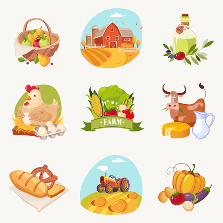 olive farm: Farm Related Objects Set Of Bright Stickers. Cute Colorful Cartoon Illustrations With Farming Symbols Isolated On White Background.
