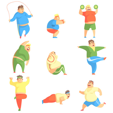 gym workout: Funny Chubby Man Character Doing Gym Workout Set Of Illustrations. Sport And Fat Guy Funny Simple Cartoon Drawings Isolated On White Background.