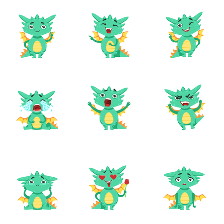 pissed off: Little Dragon Cute Emoji Set. Cute Detailed Stickers With Childish Fantastic Animal In Funny Situations.