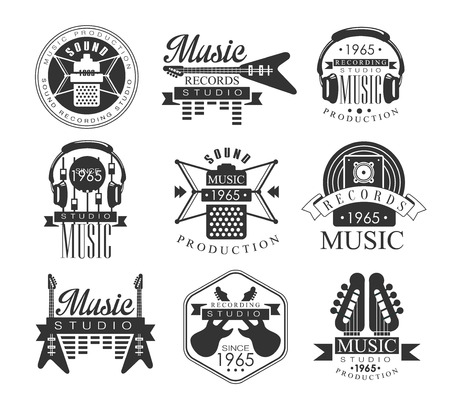 established: Music Record Studio Black And White Emblems. Classic Style Monochrome Graphic Design Set With Text On White Background