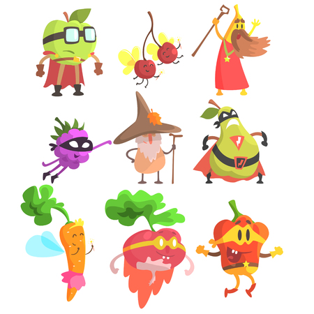 silly: Silly Fantasy Fruit And Vegetable Characters Set. Vegetables As Magicians And heroes, Flat Geometric Design Childish Stickers On White Background.