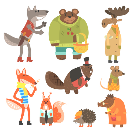 Forest Animals Dressed In Human Clothes Set Of Illustrations. Cool Cute Cartoon Animal Characters Flat Drawings In Childish Creative Style.
