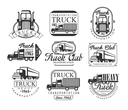 Heavy Truck Club Black And White Emblems. Classic Style Monochrome Graphic Design Set With Text On White Background