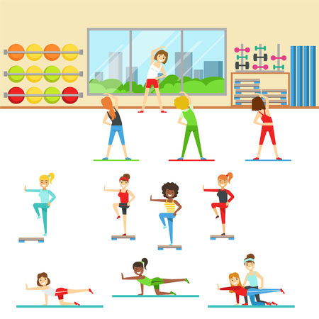 aerobics class: Women In Fitness Club Doing Different Workout Trainings With Instructor. Set of Colorful Primitive Flat Illustrations With Smiling Happy People Working Out Indoors.
