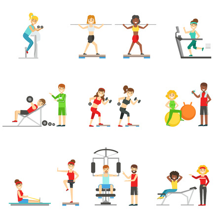 personal trainer: People In Fitness Center Exercising Under Control Of Personal Trainer. Set of Colorful Primitive Flat Illustrations With Smiling Happy People Working Out Indoors.
