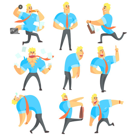 Office Worker Different Work Activities Set Of Drawings. Funny Male Character In Office Job Set OF Emotions And Daytime Activities In Financial Sphere Of Business. Stock Photo