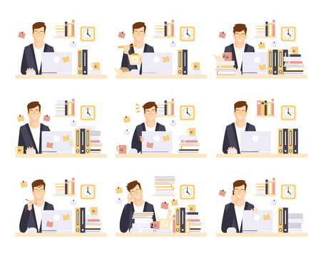 office cubicle: Male Office Worker In His Cubicle Working Set Of Illustrations. Primitive Flat Drawings In Infographic Style With Different Office Employee Activities.