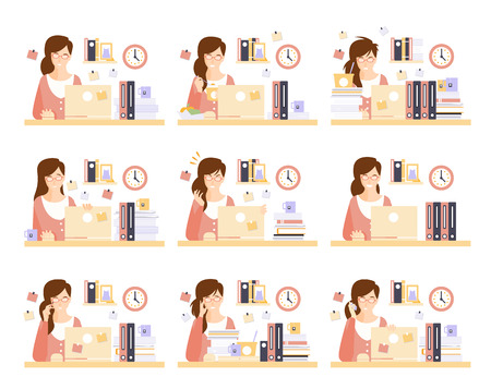 too much: Female Office Worker In Her Cubicle Working Set Of Illustrations. Primitive Flat Drawings In Infographic Style With Different Office Employee Activities.