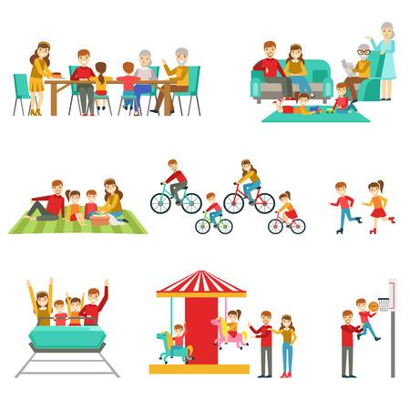 Gelukkige Familie Met Tijd Samen Samen Illustraties. Heldere Kleur vereenvoudigde Cartoon Style Leuke Familiescènes Op Witte Achtergrond.