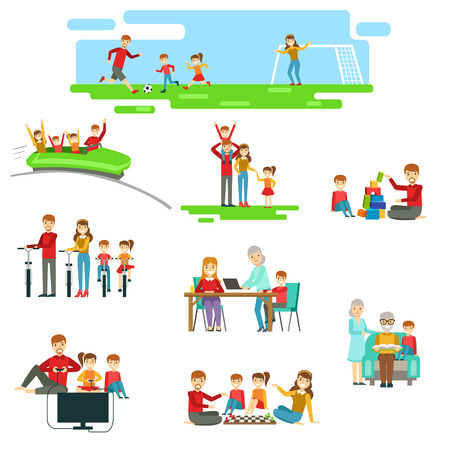 family playing: Happy Family Having Fun Together Set Of Illustrations. Bright Color Simplified Cartoon Style Cute Family Scenes On White Background.
