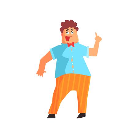 Flamboyant Chubby know-it-all Guy carattere. Graphic design fresco stile geometrico isolato disegno su sfondo bianco