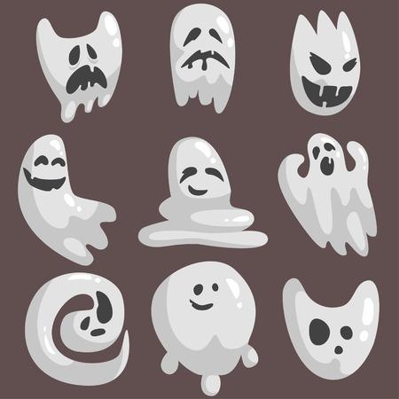 spectre: White Ghosts In Childish Cartoon Manner Set On Dark Background. Cartoon Classic Shapeless Spooks Illustrations.